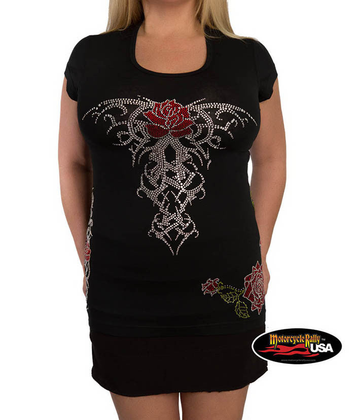 Red Roses Scoop Neck Tee