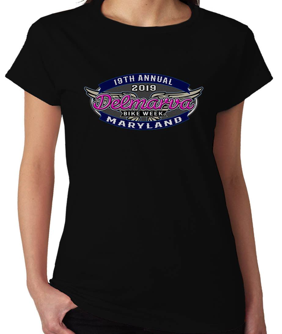 2019 Delmarva Wings   Crew Neck Black Ladies Top