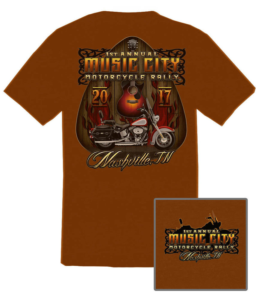 2017 Music City Motorcycle Rally Guitar Pick Texas Orange T-Shirt