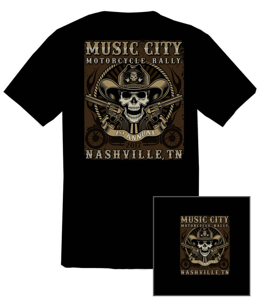2017 Music City Motorcycle Rally Cowboy Skull Black T-Shirt