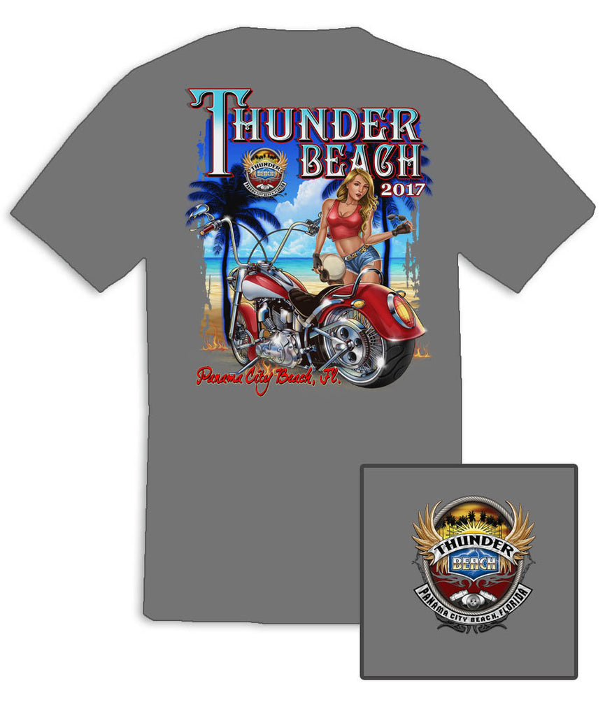 2017 Spring Thunder Beach Tropical Girl Ice Grey T-Shirt