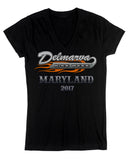 2017 Delmarva LOGO Black Ladies V-Neck  Top