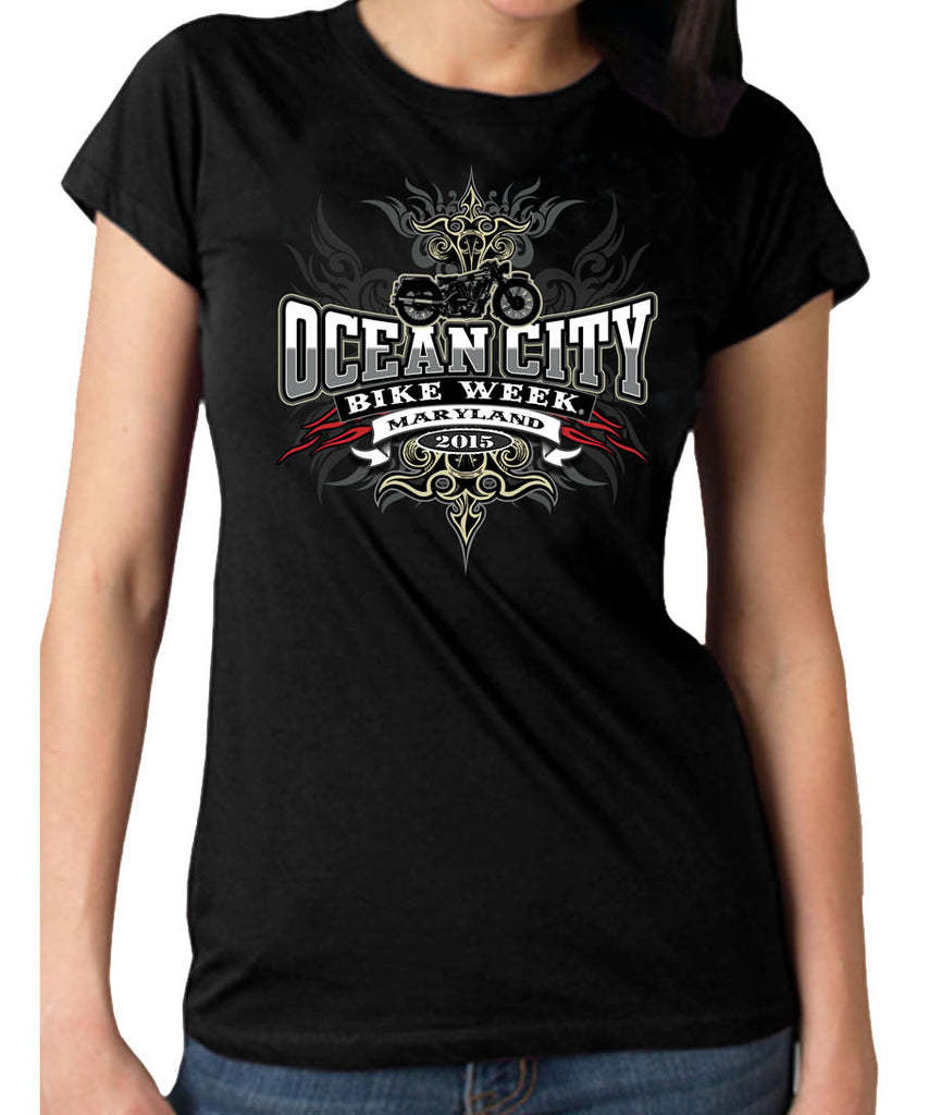 2015 OC BikeFest Tribals Ladies Black T-Shirt