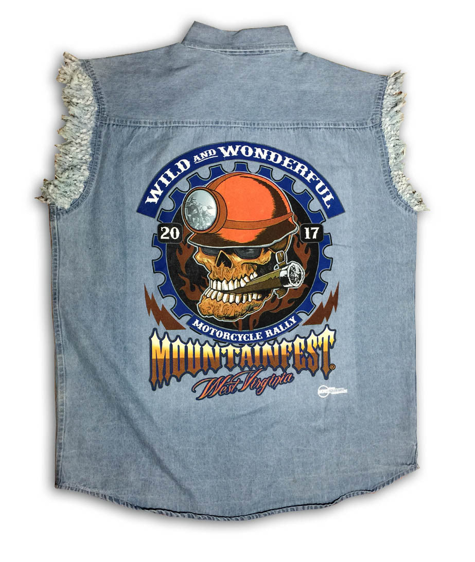 2017 MountainFest Coal Miner Cut Off Denim Shirt