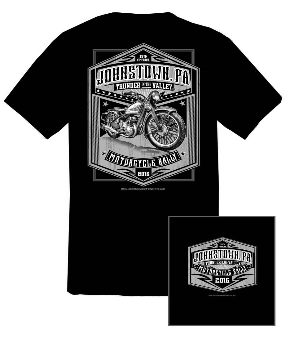 2016 Thunder in the Valley Grey Scale Bike Black T-Shirt