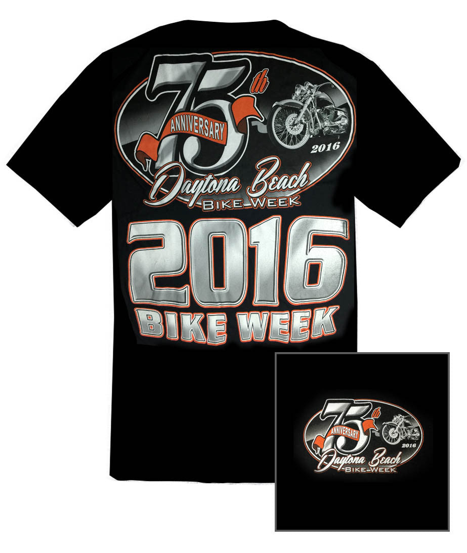 2016 75th Anniv. Daytona Bike Week Bold Back Black T-Shirt