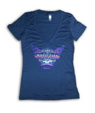 2017 Music City Motorcycle Rally Wings Indigo V-Neck Ladies Top