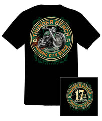 2017 Autumn Thunder Beach Green Motorcycle Black T-Shirt