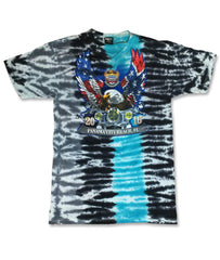 2016 Spring Thunder Beach Rebel & American Flag Eagle Blue Tie Dye T-Shirt