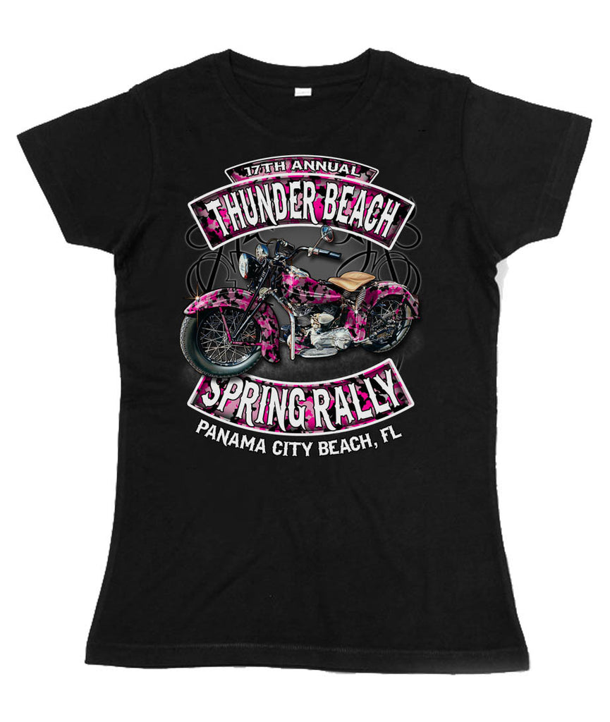 2015 Spring Thunder Beach Gator Bike Ladies V-Neck T-Shirt Black