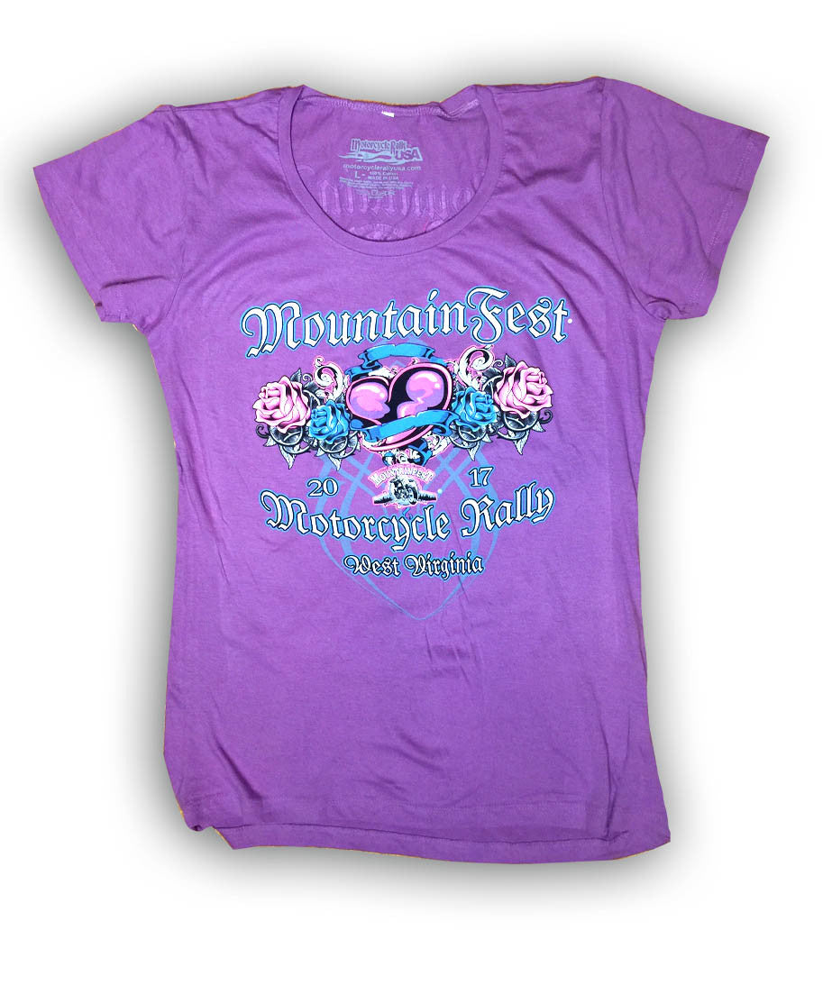 2017 MountainFest Heart and Wings Purple Ladies Top