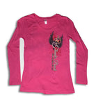2017 Spring Thunder Beach Heart Dagger Long Sleeves Ladies Hot Pink Top