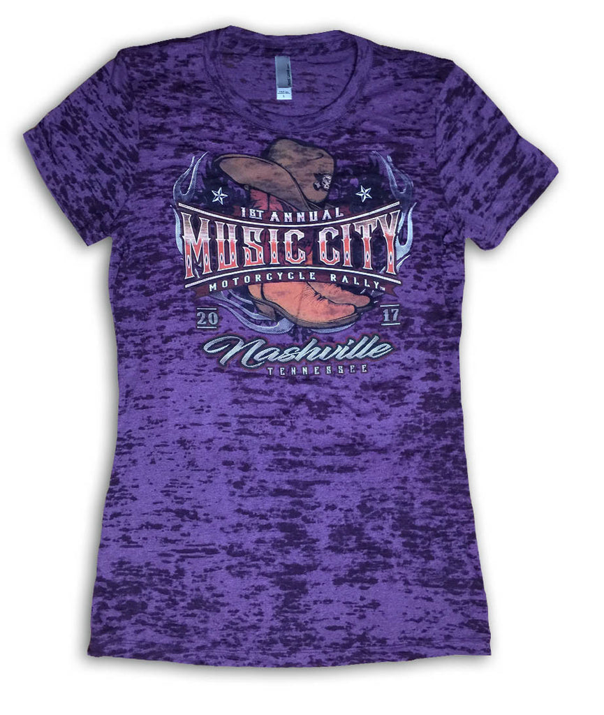 2017 Music City Motorcycle Rally Cowgirl Boots Plum Burnout Ladies Top