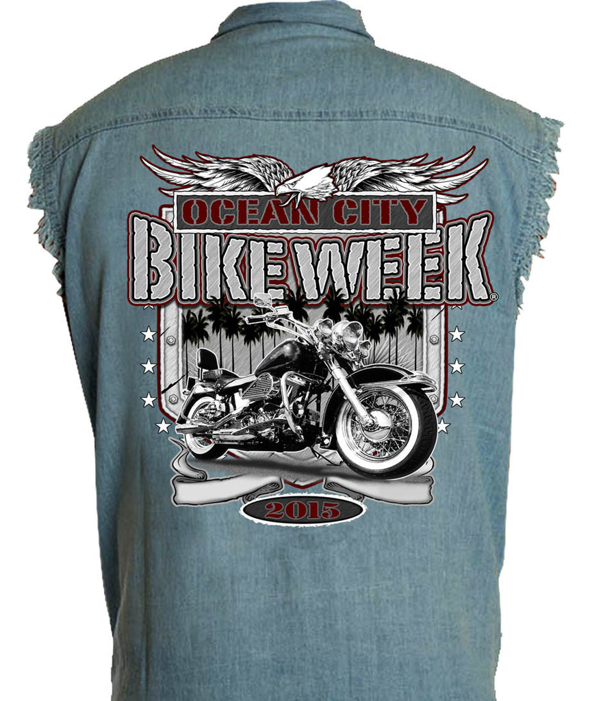 2015 OC BikeFest Eagle & Bike Cut Off Denim Shirt