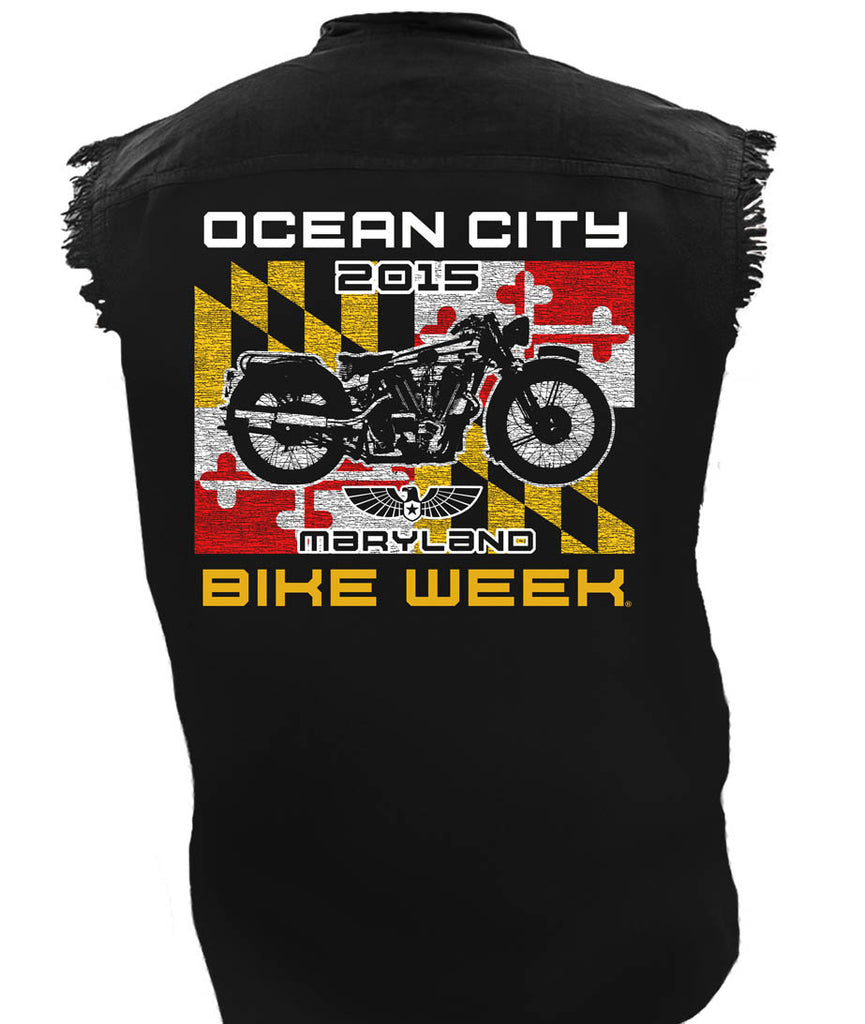 2015 OC BikeFest Maryland Flag Cut Off Black Denim Shirt