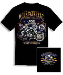 2018 MountainFest American Flag, Mountains, and Motorcycle Black T-Shirt