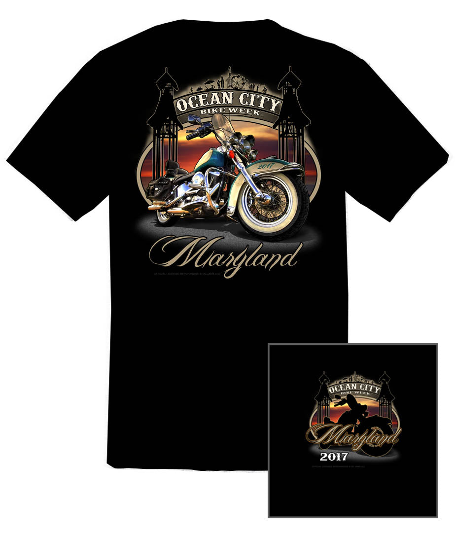 2017 OC BikeFest Boardwalk Black T-Shirt