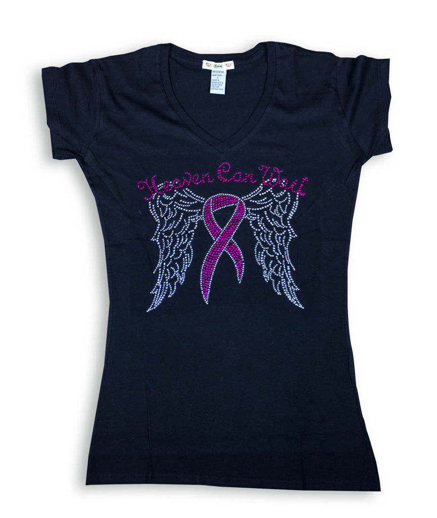 Heaven Can Wait - Breast Cancer Awareness Ladies Black V-Neck