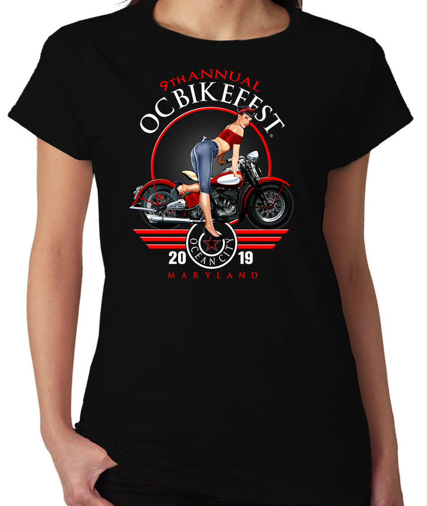 2019 OC BikeFest Pin Up Girl Black Ladies Top
