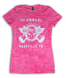 2017 Music City Motorcycle Rally #1 Design Pink Burnout Top