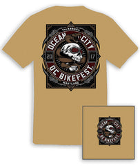 2017 OC BikeFest Snake & Skull Putty T-Shirt
