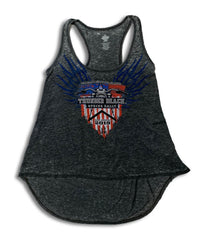 2019 Spring Thunder Beach USA Flag Razor Back Grey Tank Top