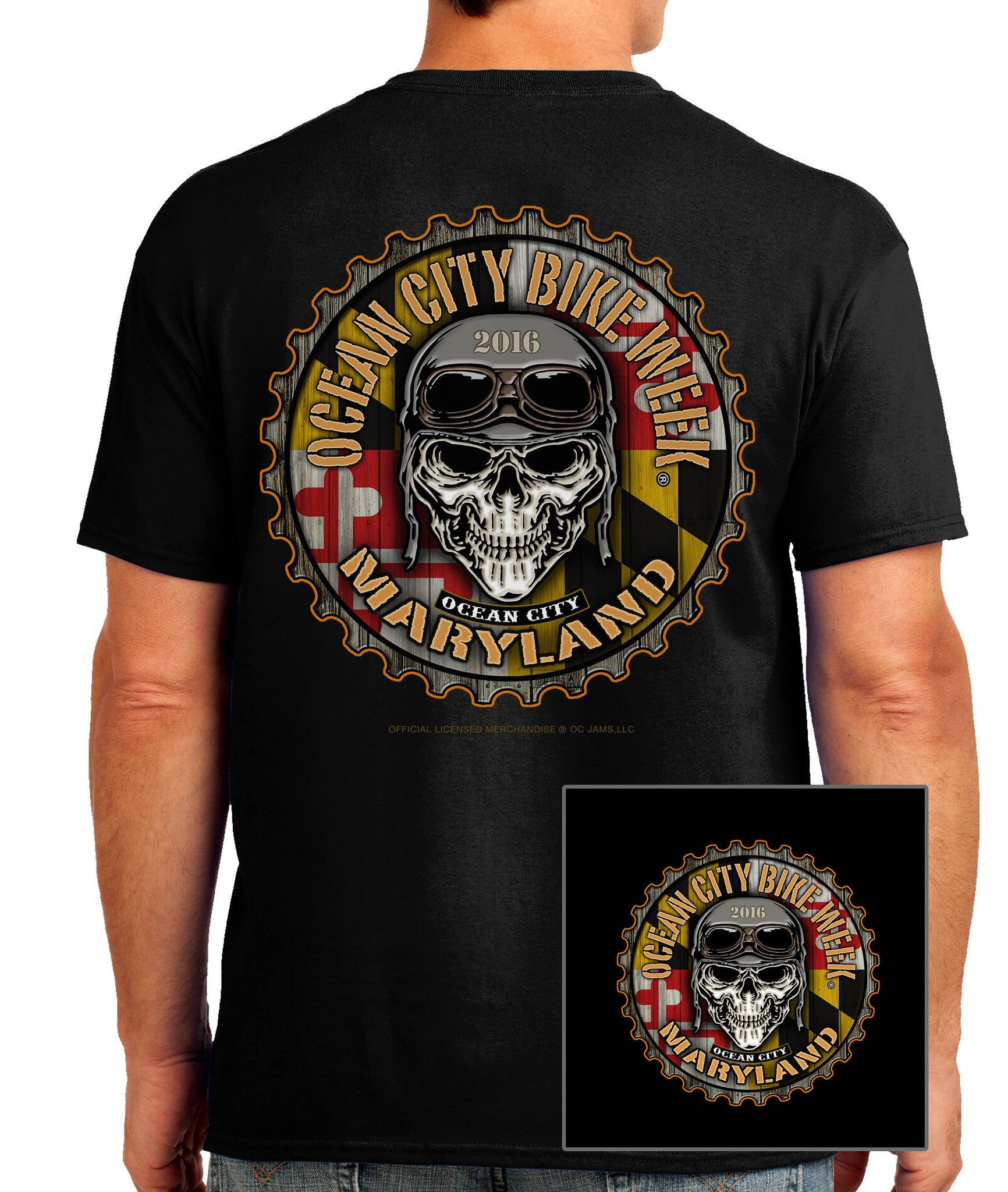 2016 OC BikeFest Maryland Flag Black T-shirt