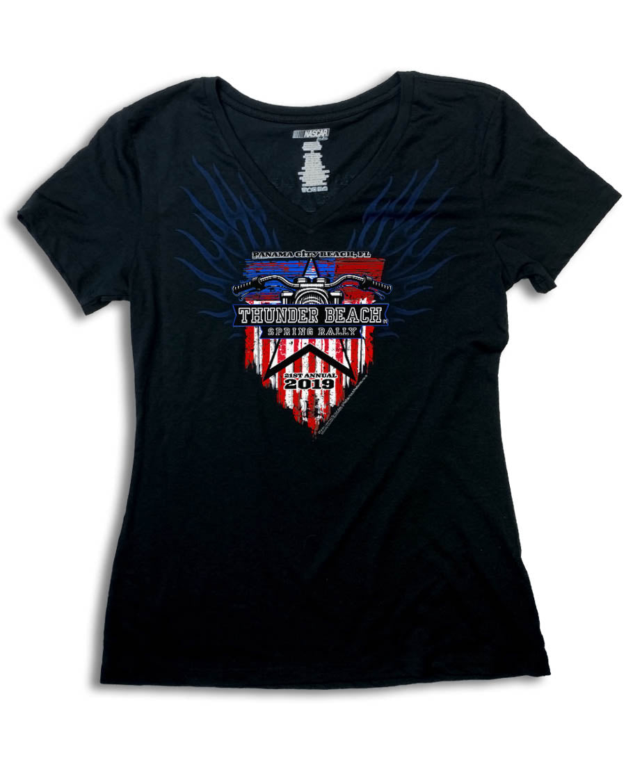 2019 Spring Thunder Beach USA Flag V-Neck Ladies Top