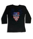 2019 Spring Thunder Beach USA Flag 3/4 sleeves Vneck Ladies Top