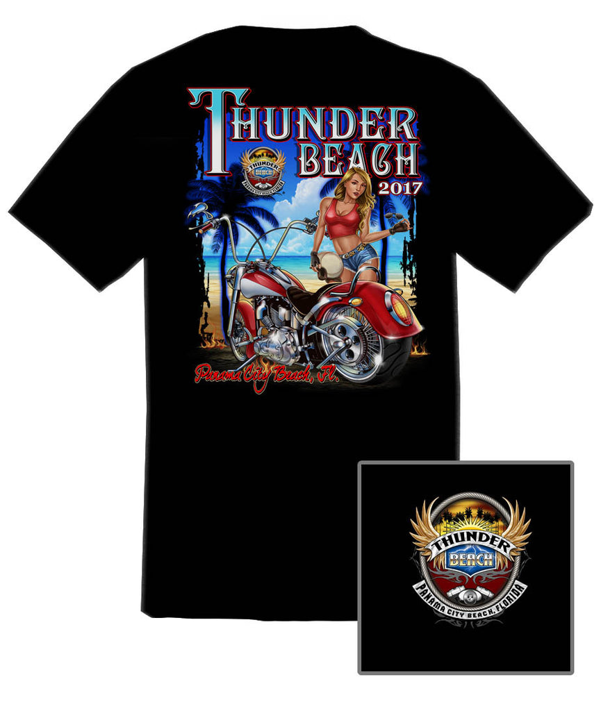 2017 Spring Thunder Beach Tropical Girl Black T-Shirt
