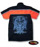 """Fuck You I have Enough Friends"" Skull Two Tone Work Shirt with Reflector Stripes - Black/Neon Orange"