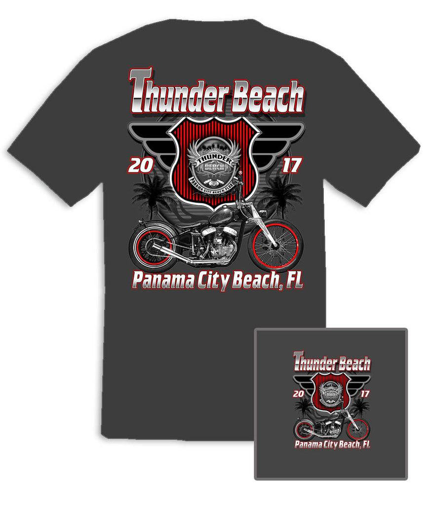 2017 Spring Thunder Beach Retro Charcoal Grey T-Shirt