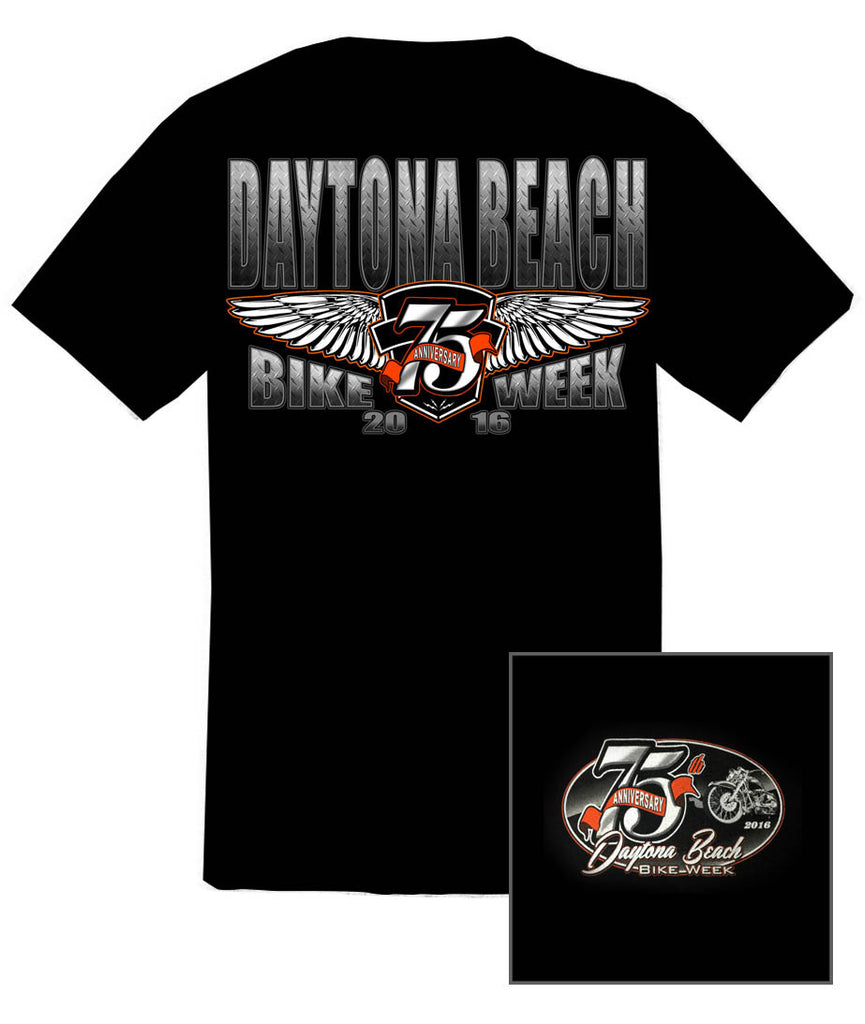 2016 75th Anniv. Daytona Bike Week Bold Wings Black T-Shirt