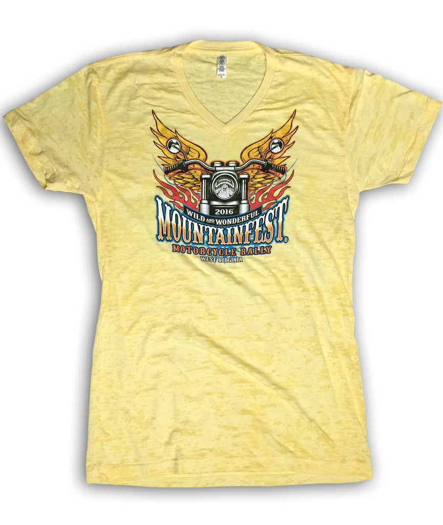2016 MountainFest Bike & Wings Yellow Burnout V-Neck Ladies Top