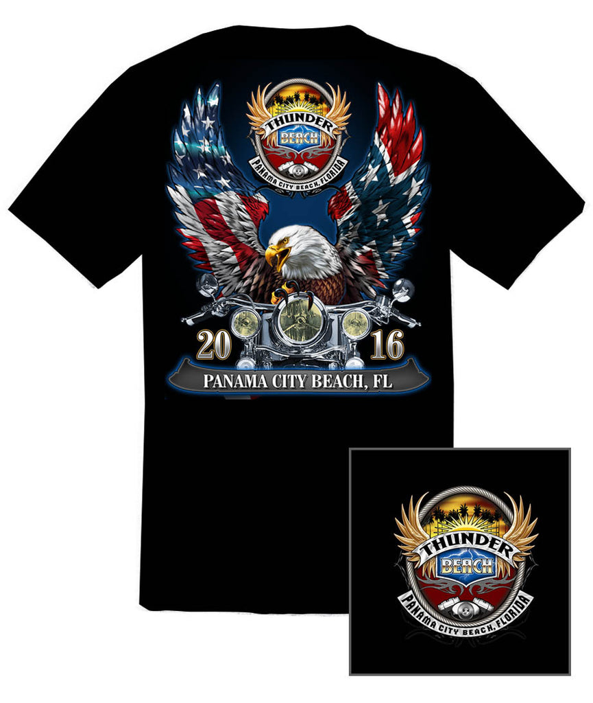 2016 Spring Thunder Beach Rebel & American Flag Eagle Black T-Shirt