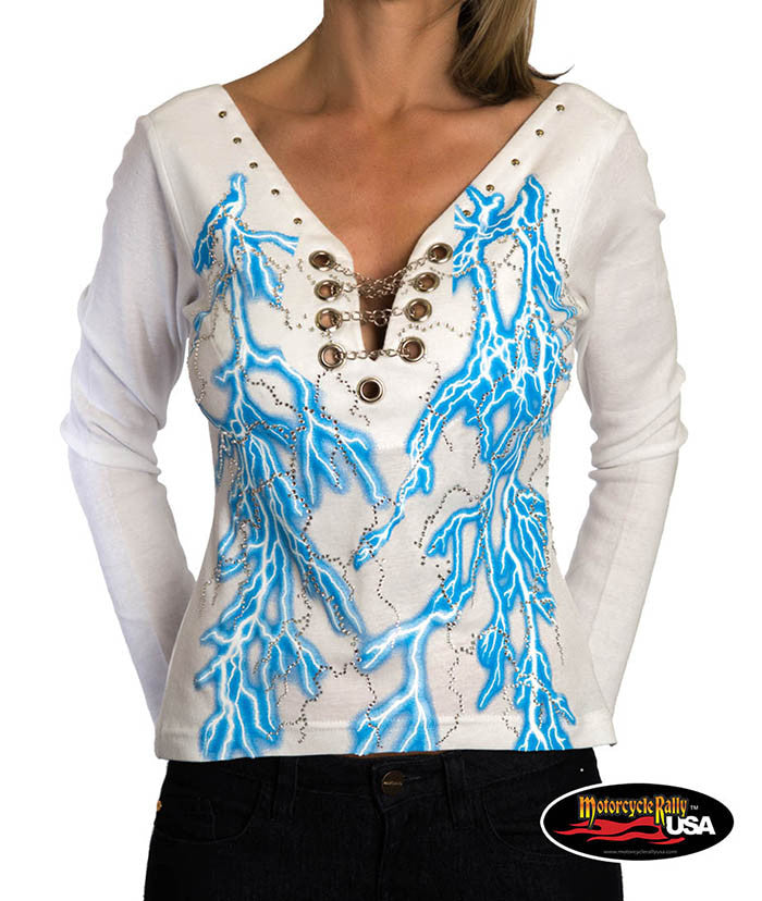 Blue Lightning Long Sleeves Top with Chains