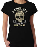2019 OC BikeFest Sugar Skull Black Ladies Top