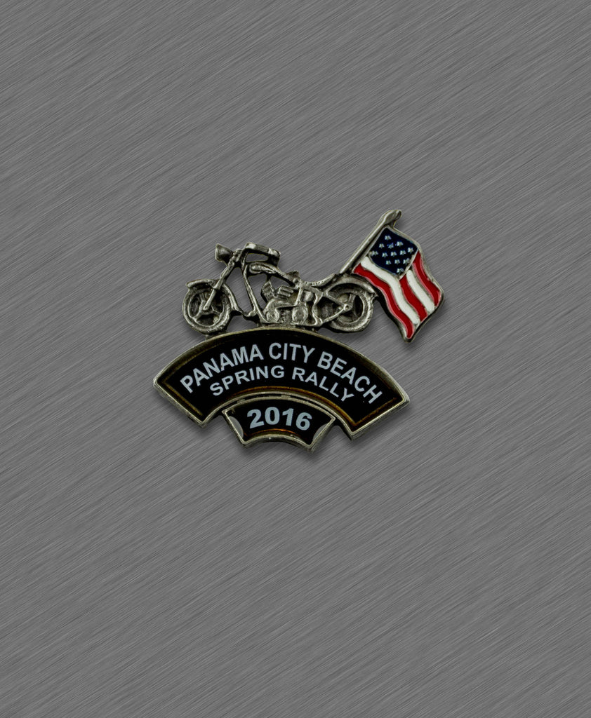 2016 Spring Thunder Beach Pin - Bike with American Flag