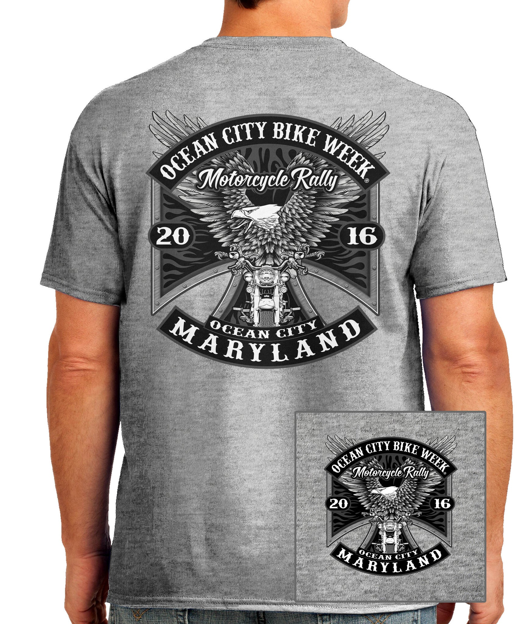 2016 OC BikeFest Eagle Sport Grey T-shirt