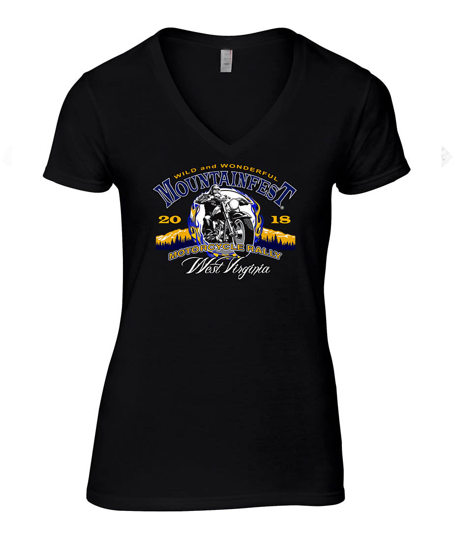 2018 MountainFest Logo Ladies V-neck Top