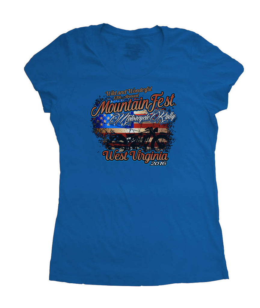 2016 MountainFest American Flag Royal Blue O-Neck Ladies Top