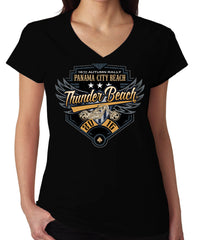 2016 Autumn Thunder Beach Wings & Shield Black Ladies V-Neck