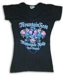 2017 MountainFest Heart and Wings V-Neck Black Ladies Top