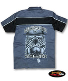 """Doesn't Play Well With Others"" Bull Dog Two Tone Work Shirt with Reflector Stripes - Black/Charcoal"