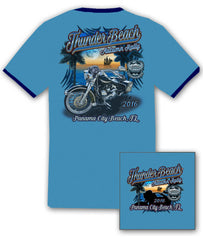 2016 Autumn Thunder Beach #1 Design Blue Ringer T-Shirt