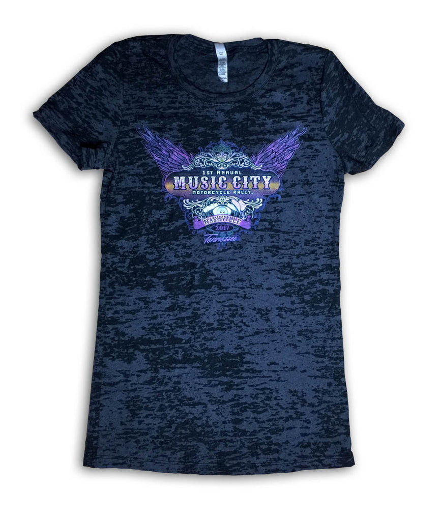 2017 Music City Motorcycle Rally Wings Black Burnout Ladies Top