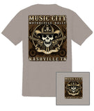 2017 Music City Motorcycle Rally Cowboy Skull Ice Grey T-Shirt