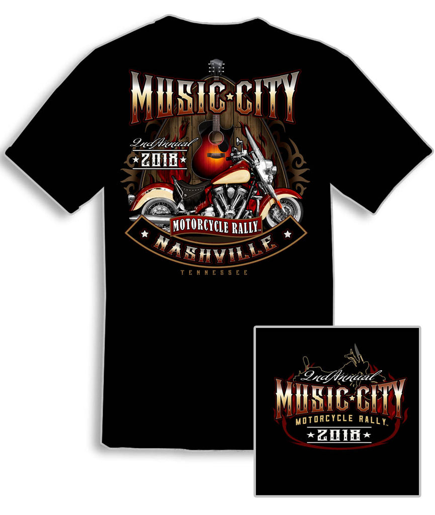 2018 Music City Guitar Pick Black T-Shirt