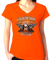 2019 Roar on the Shore Bikes and Wings V-Neck Ladies Orange Top