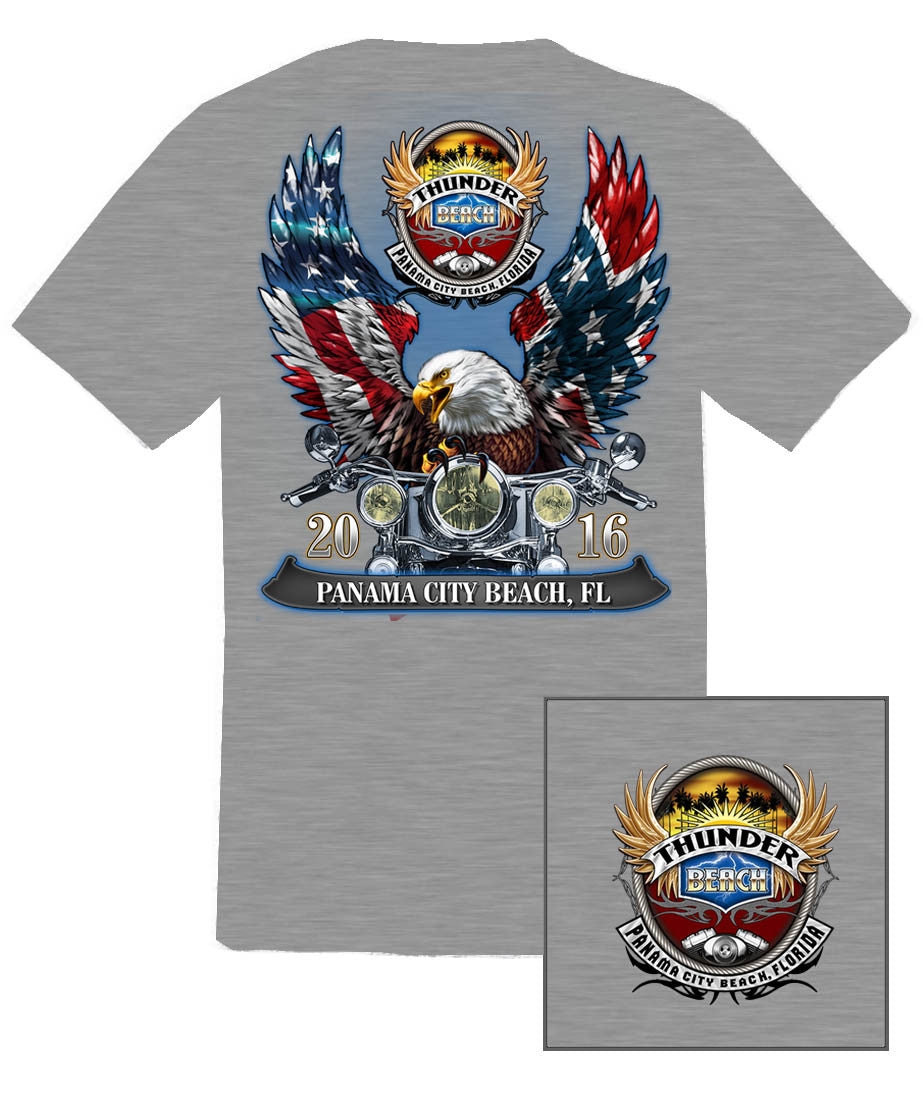 2016 Spring Thunder Beach Rebel & American Flag Eagle Sport Grey T-Shirt
